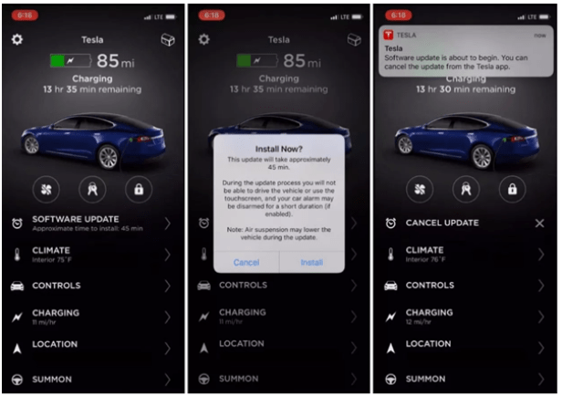 Tesla app features