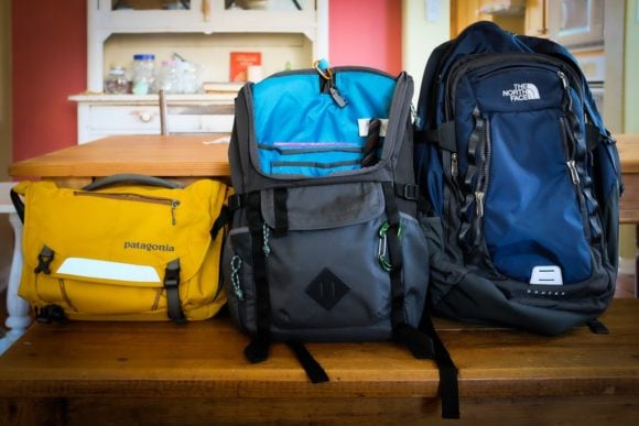 Patagonia Minimass, JanSport Hatchet, North Face Router