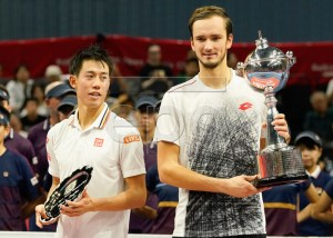Daniil Medvedev of Russia (R) holds his trophy after defeating Kei Nishikori of Japan (L) in the final match of the Japan Open tennis championships in Tokyo, Japan, 07 October 2018. EPA-EFE/CHRISTOPHER JUE