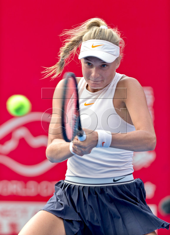Dayana Yastremska of Ukraine in action against Zhang Shuai of China during their semi-final match at the Prudential Hong Kong Tennis Open 2018 in Hong Kong, China, 13 October 2018.  EPA-EFE/JEROME FAVRE