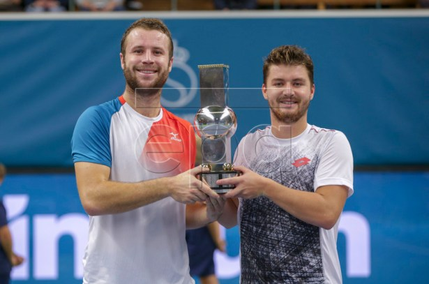 Great Britain's Luke Bambridge and Jonny O'Mara wins the ATP Stockholm Open tennis tournament doubles final match against  Marcus Daniell (NZL) / Wesley Koolhof (NED) at the Royal Tennis Hall on October 21 2018, in Stockholm, Sweden.  EPA-EFE/Soren Andersson/TT  SWEDEN OUT