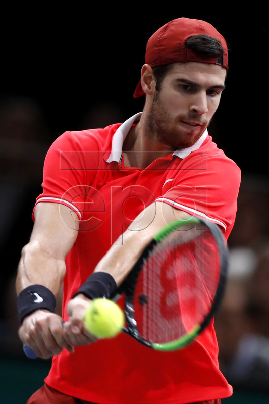 Karen Khachanov of Russia in action against Novak Djokovic of Serbia during their final match at the Rolex Paris Masters tennis tournament in Paris, France, 04 November 2018.  EPA-EFE/Ian Langsdon