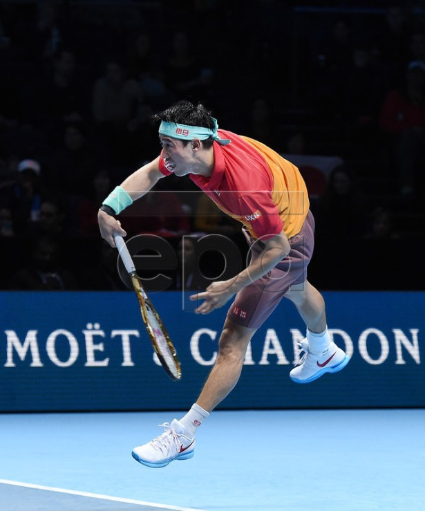 Japan's Kei Nishikori in action during his round robin match against Kevin Anderson of South Africa at the ATP Finals tennis tournment in London, Britain, 13 November 2018.  EPA-EFE/ANDY RAIN