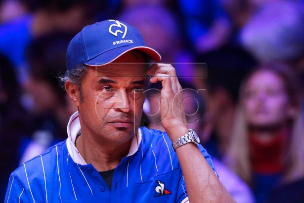 French Davis Cup team captain Yannick Noah reacts during the doubles match of the Davis Cup Final between France and Croatia at the Pierre Mauroy Stadium in Villeneuve-d'Ascq, near Lille, France, 24 November 2018.  EPA-EFE/YOAN VALAT