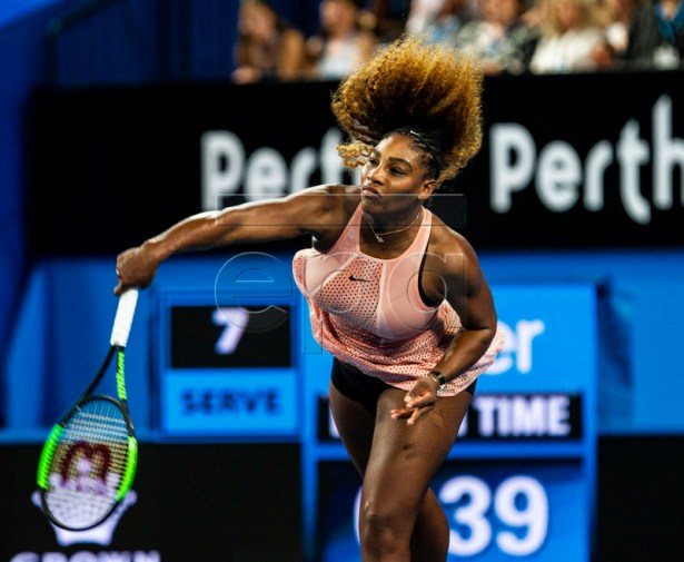 Serena Williams of the USA in action during the Women's singles match between the USA and Switzerland on day 4 of the Hopman Cup tennis tournament at RAC Arena in Perth, Western Australia, Australia, 01 January 2019.  EPA-EFE/TONY MCDONOUGH AUSTRALIA AND NEW ZEALAND OUT  EDITORIAL USE ONLY