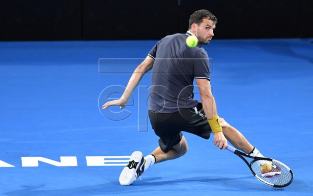 Grigor Dimitrov of Bulgaria in action during his quarter final match against Kei Nishikori of Japan at the Brisbane International tennis tournament at the Queensland Tennis Centre in Brisbane, Australia, 03 January 2019.  EPA-EFE/DARREN ENGLAND AUSTRALIA AND NEW ZEALAND OUT  EDITORIAL USE ONLY