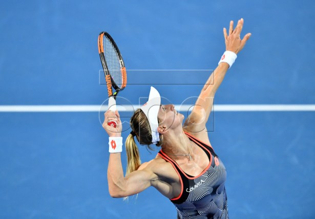 Lesia Tsurenko of the Ukraine in action during her women's quarter final match against Anett Kontaveit of Estonia at the Brisbane International tennis tournament at the Queensland Tennis Centre in Brisbane, Australia, 03 January 2019.  EPA-EFE/DARREN ENGLAND AUSTRALIA AND NEW ZEALAND OUT  EDITORIAL USE ONLY