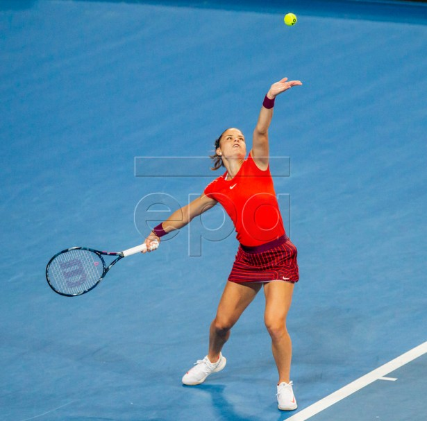 Maria Sakkara of Greece in action during the women's singles match between Switzerland and Greece on day 6 of the Hopman Cup tennis tournament at RAC Arena in Perth, Australia, 03 January 2019.  EPA-EFE/TONY MCDONOUGH AUSTRALIA AND NEW ZEALAND OUT  EDITORIAL USE ONLY