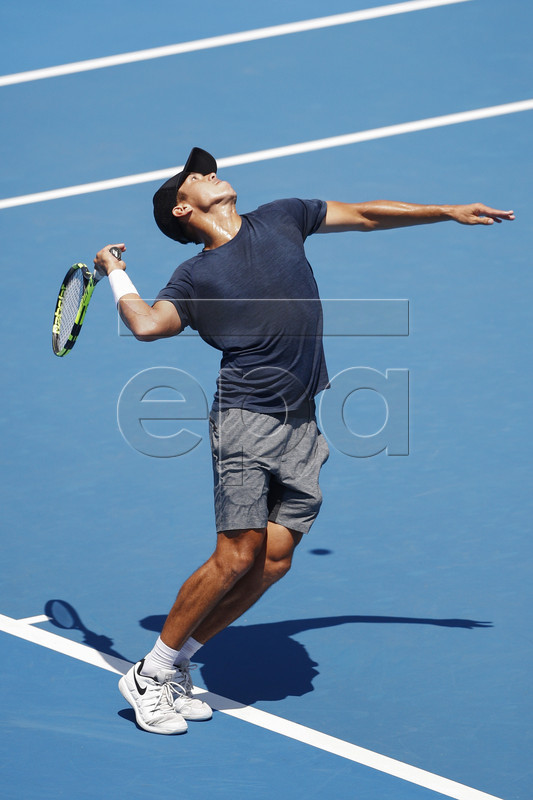 Jason Kubler of Australia serves against Janko Tipsarevic of Serbia during match two of the Kooyong Classic at Kooyong Lawn Tennis Club in Melbourne, Australia, 08 January 2019.  EPA-EFE/DANIEL POCKETT AUSTRALIA AND NEW ZEALAND OUT