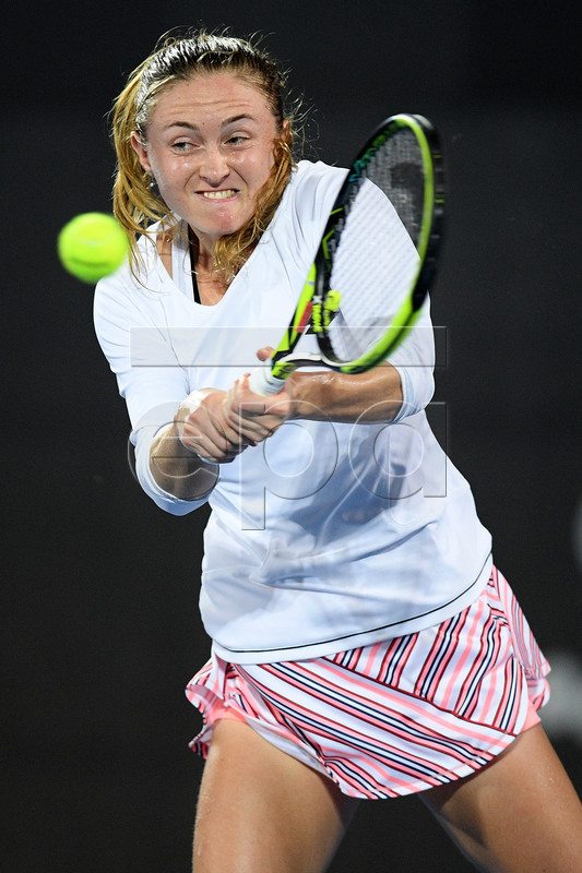 Aliaksandra Sasnovich of Belarus in action during her semifinal match against Petra Kvitova of the Czech Republic at the Sydney International tennis tournament at Sydney Olympic Park Tennis Centre in Sydney, Australia 11 January 2019.  EPA-EFE/DAN HIMBRECHTS EDITORIAL USE ONLY AUSTRALIA AND NEW ZEALAND OUT