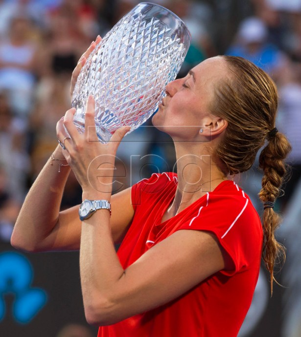 Petra Kvitova of the Czech Republic kisses her trophy after defeating Ashleigh Barty of Australia in their women's singles final of the Sydney International tennis tournament at Sydney Olympic Park Tennis Centre in Sydney, Australia, 12 January 2019. EPA-EFE/CRAIG GOLDING AUSTRALIA AND NEW ZEALAND OUT