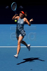 Maria Sharapova of Russia in action against Harriet Dart of Britain during their women's singles round one match of the Australian Open tennis tournament in Melbourne, Australia, 14 January 2019.  EPA-EFE/MARK DADSWELL  AUSTRALIA AND NEW ZEALAND OUT