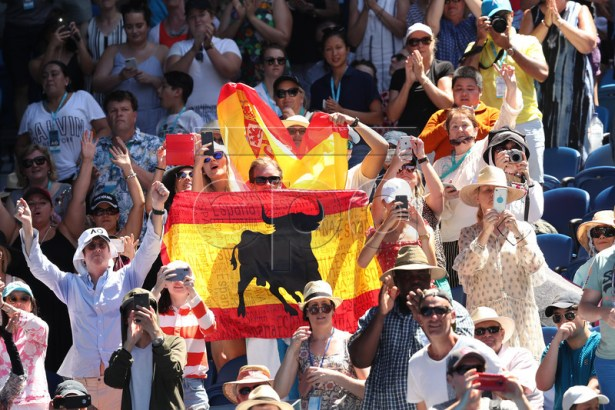Fans display the national flag of Spain during day one of the Australian Open Grand Slam tennis tournament in Melbourne, Australia, 14 January 2019.  EPA-EFE/DAVID CROSLING AUSTRALIA AND NEW ZEALAND OUT