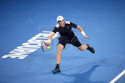 Andy Murray of Britain in action during his first round match against Roberto Bautista Agut of Spain at the Australian Open tennis tournament in Melbourne, Australia, 14 January 2019. EPA-EFE/LUKAS COCH AUSTRALIA AND NEW ZEALAND OUT