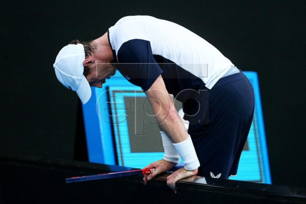 Andy Murray of Britain reacts during his first round match against Roberto Bautista Agut of Spain at the Australian Open tennis tournament in Melbourne, Australia, 14 January 2019. EPA-EFE/JULIAN SMITH AUSTRALIA AND NEW ZEALAND OUT