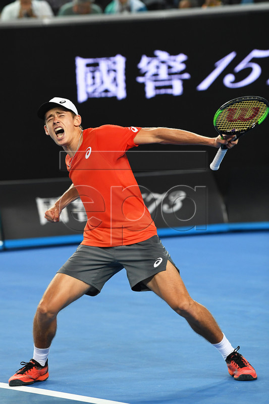 Alex de Minaur of Australia celebrates after winning his men's second round match against Henri Laaksonen of Switzerland at the Australian Open tennis tournament in Melbourne, Australia, 16 January 2019.  EPA-EFE/JULIAN SMITH AUSTRALIA AND NEW ZEALAND OUT