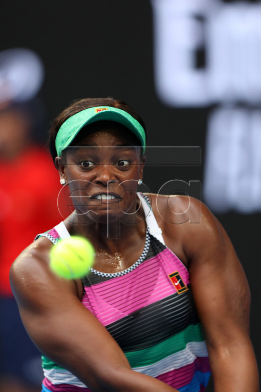 Sloane Stephens of the United States in action against Petra Martic of Croatia during their round three women's singles match on day five of the Australian Open Grand Slam tennis tournament in Melbourne, Australia, 18 January 2019. EPA-EFE/DAVID CROSLING EDITORIAL USE ONLY