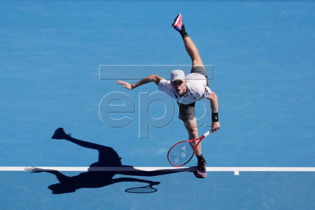 Denis Shapovalov of Canada in action during his round three men's singles match against Novak Djokovic of Serbia at the Australian Open Grand Slam tennis tournament in Melbourne, Australia, 19 January 2019. EPA-EFE/MAST IRHAM