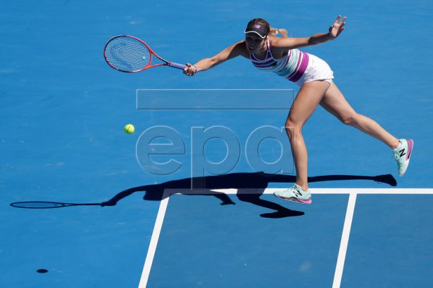 Danielle Rose Collins of USA in action during her round four women's singles match against Angelique Kerber of Germany at the Australian Open Grand Slam tennis tournament in Melbourne, Australia, 20 January 2019.  EPA-EFE/MAST IRHAM