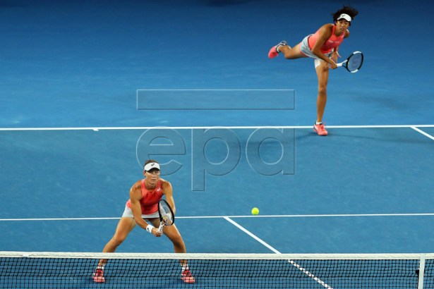 Samantha Stosur (L) of Australia and Shuai Zhang (R) of China in action during their women's doubles semi final match against Barbora Strycova and Marketa Vondrousova, both of the Czech Republic, at the Australian Open Grand Slam tennis tournament in Melbourne, Australia, 23 January 2019. EPA-EFE/DAVID CROSLING AUSTRALIA AND NEW ZEALAND OUT