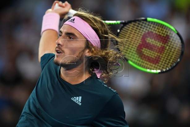 Stefanos Tsitsipas of Greece in action against Rafael Nadal of Spain during the men's singles semi final against Rafael Nadal of Spain at the Australian Open tennis tournament in Melbourne, 24 January 2019. EPA-EFE/LUKAS COCH EDITORIAL USE ONLY AUSTRALIA AND NEW ZEALAND OUT