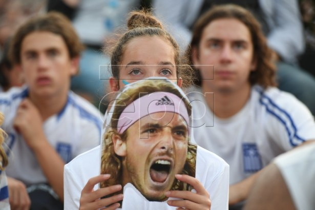 Greek fans react during the men's singles semi final match between Stefanos Tsitsipas of Greece and Rafael Nadal of Spain at the Australian Open tennis tournament in Melbourne, Australia, 24 January 2019. EPA-EFE/SAM MOOY AUSTRALIA AND NEW ZEALAND OUT