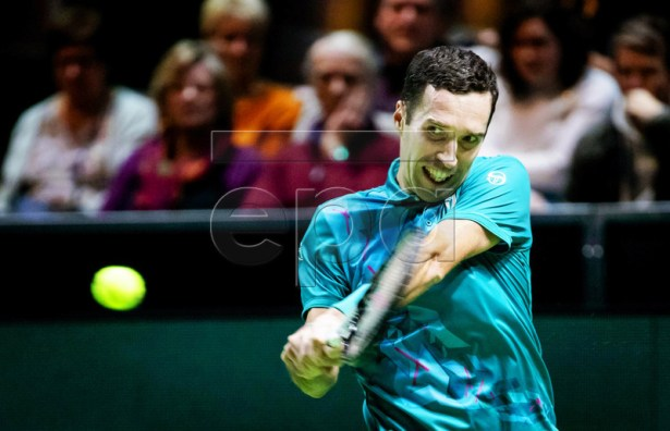 Mikhail Kukushkin of Kazakhstan in action against Robin Haase of the Netherlands during their first round match at the ABN AMRO World Tennis Tournament in Rotterdam, Netherlands, 11 February 2019.  EPA-EFE/ROBIN VAN LONKHUIJSEN