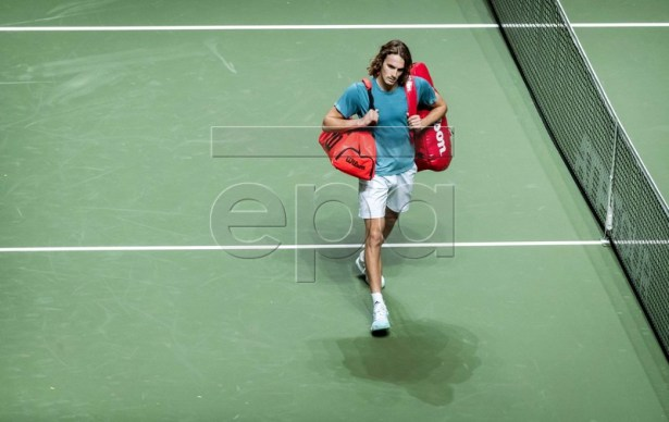 Stefanos Tsitsipas of Greece leaves the court after his first round match against Damir Dzumhur of Bosnia at the ABN AMRO World Tennis Tournament in Rotterdam, The Netherlands, 13 February 2019.  EPA-EFE/KOEN VAN WEEL