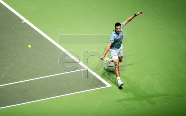 French Jo-Wilfried Tsonga returns the ball to Duch Talon Griekspoor during their match at the ABN AMRO World Tennis Tournament in Rotterdam, The Netherlands, 14 February 2019.  EPA-EFE/ROBIN VAN LONKHUIJSEN