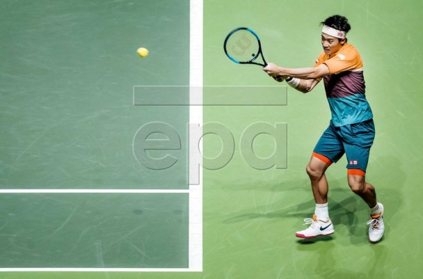 Kei Nishikori of Japan in action during the semi-final against Swiss Stan Wawrinka at the ABN AMRO World Tennis Tournament in Rotterdam, The Netherlands, 16 February 2019.  EPA-EFE/KOEN VAN WEEL