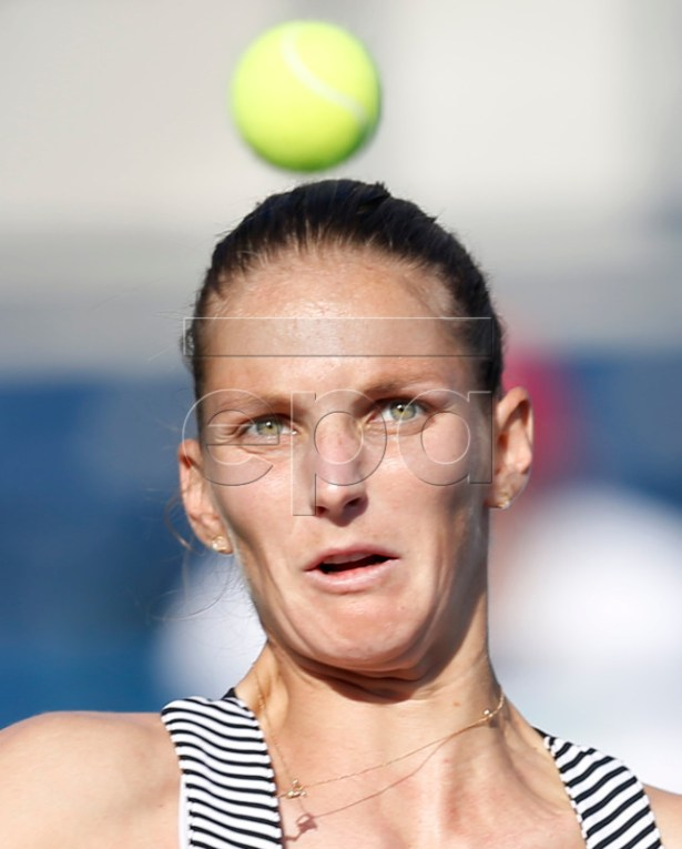 Karolina Pliskova of the Czech Republic in action during her quarter final match against Su-Wei Hsieh of Taiwan at Dubai Duty Free Tennis WTA Championships 2019 in Dubai, United Arab Emirates, 21 February 2019.  EPA-EFE/ALI HAIDER