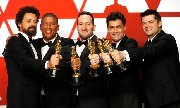 (L-R) Bob Persichetti, Peter Ramsey, Rodney Rothman, Phil Lord and Christopher Miller winners of the Animated Feature Film Award for 'Spider-Man: Into The Spider-Verse'' pose in the press room during the 91st annual Academy Awards ceremony at the Dolby Theatre in Hollywood, California, USA, 24 February 2019. The Oscars are presented for outstanding individual or collective efforts in 24 categories in filmmaking. EPA-EFE/ETIENNE LAURENT