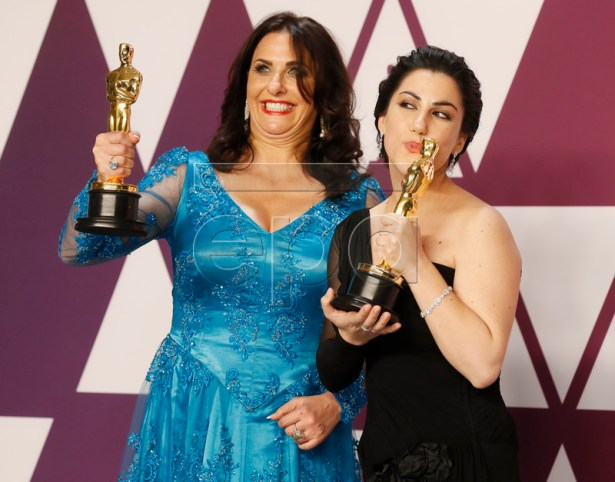Melissa Berton (L) and Rayka Zehtabchi winners of the Documentary (Short Subject) Award for 'Period. End of Sentence' pose in the press room during the 91st annual Academy Awards ceremony at the Dolby Theatre in Hollywood, California, USA, 24 February 2019. The Oscars are presented for outstanding individual or collective efforts in 24 categories in filmmaking. EPA-EFE/ETIENNE LAURENT