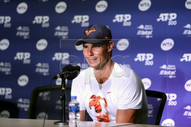 Rafael Nadal of Spain speaks during a press conference after defeating Mischa Zverev of Germany at the Mexican Open tennis tournament in Acapulco, Guerrero state, Mexico, 26 February 2019.  EPA-EFE/DAVID GUZMAN