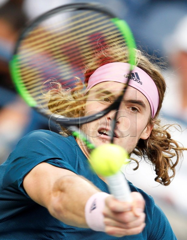 Stefanos Tsitsipas of Greece in action against Hubert Hurkacz of Poland during their quarter final match at the Dubai Duty Free Tennis ATP Championships 2019 in Dubai, United Arab Emirates, 28 February 2019.  EPA-EFE/ALI HAIDER