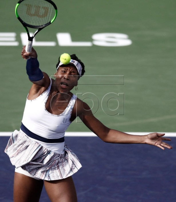 Venus Williams of the United States in action against Petra Kvitova of Czech Republic during the BNP Paribas Open tennis tournament at the Indian Wells Tennis Garden in Indian Wells, California, USA, 09 March 2019. The men's and women's final will be played on 17 March 2019.  EPA-EFE/LARRY W. SMITH