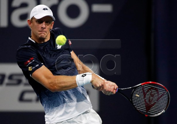 Kevin Anderson of South Africa in action against Roger Federer of Switzerland during their men's quarterfinals match at the Miami Open tennis tournament in Miami, Florida, USA, 28 March 2019.  EPA-EFE/JASON SZENES