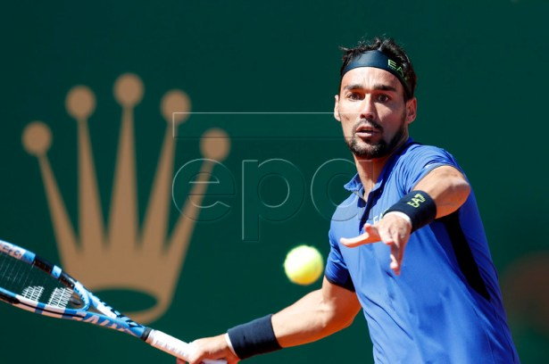 Fabio Fognini of Italy in action during his first round match against  Andrey Rublev of Russia at the Monte-Carlo Rolex Masters tournament in Roquebrune Cap Martin, France, 15 April 2019.  EPA-EFE/SEBASTIEN NOGIER