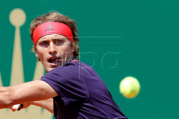 Alexander Zverev of Germany in action during his second round match against Felix Auger-Aliassime of Canada at the Monte-Carlo Rolex Masters tournament in Roquebrune Cap Martin, France, 17 April 2019. EPA-EFE/SEBASTIEN NOGIER