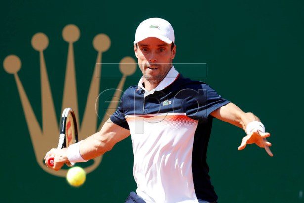 Roberto Bautista Agut of Spain in action during his secound round match against Rafael Nadal of Spain at the Monte-Carlo Rolex Masters tournament in Roquebrune Cap Martin, France, 17 April 2019. EPA-EFE/SEBASTIEN NOGIER