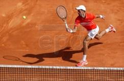 Novak Djokovic of Serbia in action during his quarterfinal match against Daniil Medvedev of Russia at the Monte-Carlo Rolex Masters tournament in Roquebrune Cap Martin, France, 19 April 2019. EPA-EFE/SEBASTIEN NOGIER