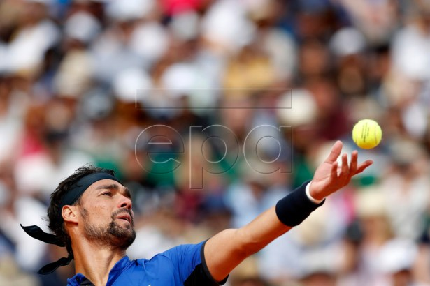 Fabio Fognini of Italy serves the ball to Rafael Nadal of Spain during their semi final match at the Monte-Carlo Rolex Masters tournament in Roquebrune Cap Martin, France, 20 April 2018.  EPA-EFE/SEBASTIEN NOGIER