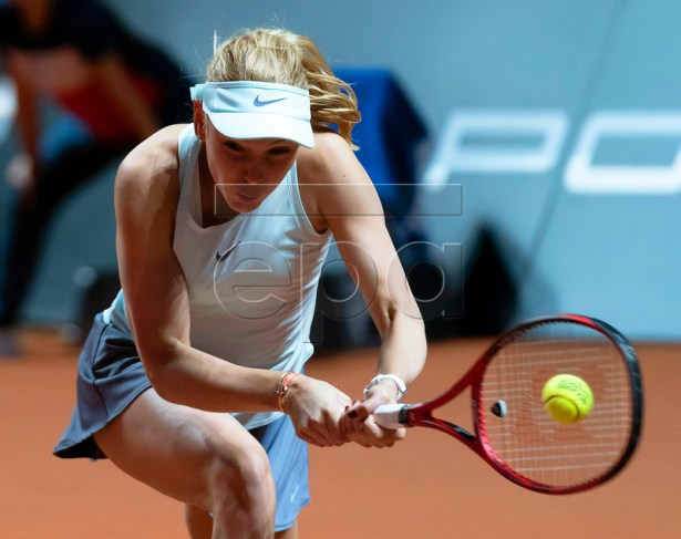 Donna Vekic of Croatia in action during her quarter final match against Naomi Osaka of Japan at the Porsche Tennis Grand Prix tournament in Stuttgart, Germany, 26 April 2019.  EPA-EFE/RONALD WITTEK