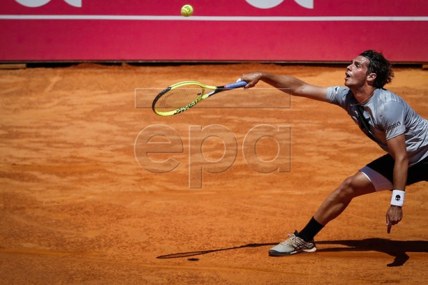 Filippo Baldi of Italy in action during his match against Pablo Cuevas of Uruguay at the Estoril Open Tennis tournament in Cascais, near Lisbon, Portugal, 02 May 2019.  EPA-EFE/RODRIGO ANTUNES