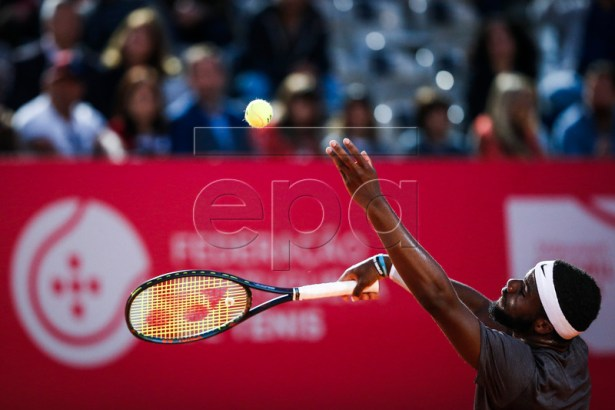 Frances Tiafoe of the USA in action during his  match  against Hoshihito Nishioka of Japan at the Estoril Open Tennis tournament , in Cascais, near Lisbon, Portugal, 02 May 2019.  EPA-EFE/RODRIGO ANTUNES