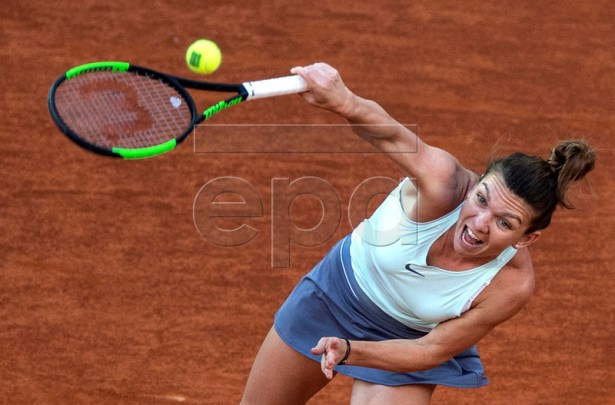 Simona Halep of Romania in action against Kiki Bertens of Netherlands during their Mutua Madrid Open tennis final game at Caja Magica, in Madrid, Spain, 11 May 2019.  EPA-EFE/Rodrigo Jimenez