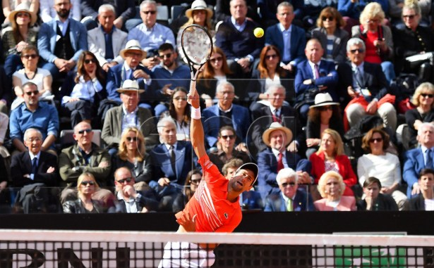 Novak Djokovic of Serbia in action against Rafael Nadal of Spain during their men's singles final match at the Italian Open tennis tournament in Rome, Italy, 19 May 2019.  EPA-EFE/ETTORE FERRARI