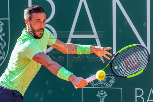 Damir Dzumhur of Bosnia in action during his match against  Stan Wawrinka of Switzerland  at the Geneva Open tennis tournament in Geneva, Switzerland, 22 May 2019.  EPA-EFE/MARTIAL TREZZINI