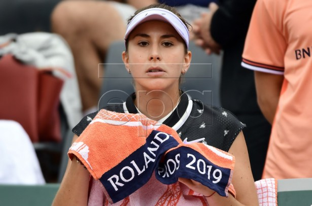 Belinda Bencic of Switzerland plays Jessika Ponchet of France during their women?s first round match during the French Open tennis tournament at Roland Garros in Paris, France, 26 May 2019. EPA-EFE/CAROLINE BLUMBERG