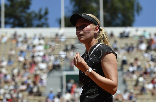 Donna Vekic of Croatia reacts as she plays Johanna Konta of Britain during their women?s round of 16 match during the French Open tennis tournament at Roland Garros in Paris, France, 02 June 2019. EPA-EFE/JULIEN DE ROSA